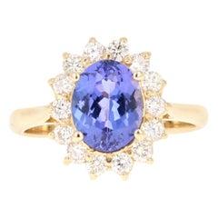 2.59 Carat Oval Cut Tanzanite Diamond 14 Karat Yellow Gold Ring