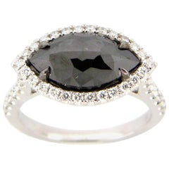 2.59 Carat Rose Cut Black and White Diamond Ring