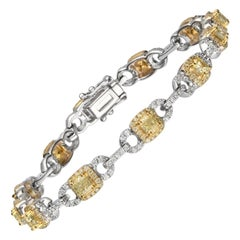 2.59 Carat T.W. Yellow Diamond 14 Karat Karat Two-Tone Gold Bracelet