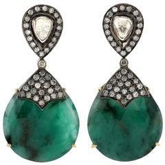 25.95 Carat Emerald Diamond Earrings