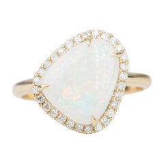 2.59ct Solid Australian Opal Diamond Halo Engagement Ring 14k Yellow Gold AD2305
