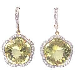 25ct Flower Lemon Quartz and White Sapphire Earrings