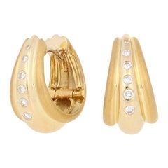.25ctw Round Brilliant Diamond Earrings, 18k Gold Polished & Matte Pierced Hoops