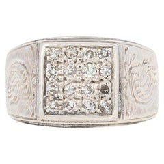.25ctw Single Cut Diamond Ring, Sterling Silver Etched Men's
