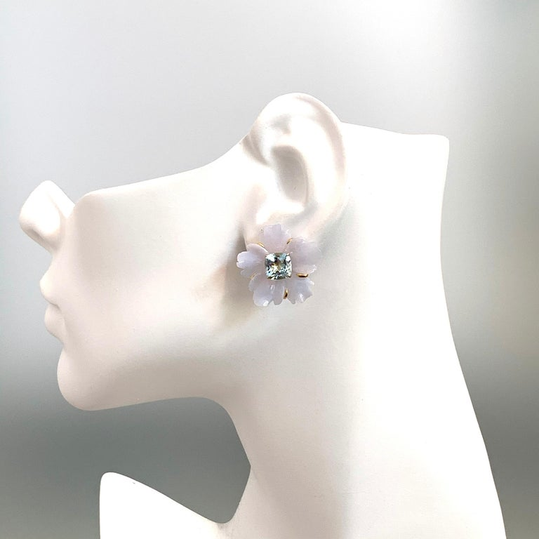 Artisan 25mm Carved Chalcedony Flower and Cushion Blue Topaz Vermeil Earrings For Sale