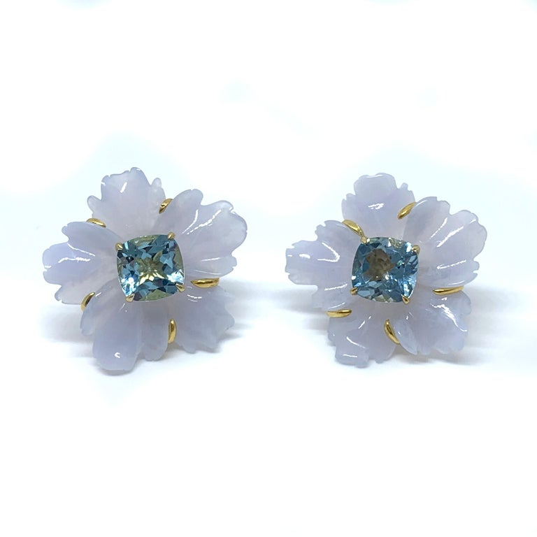 Mixed Cut 25mm Carved Chalcedony Flower and Cushion Blue Topaz Vermeil Earrings For Sale
