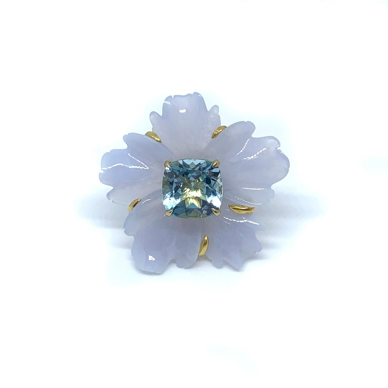 25mm Carved Chalcedony Flower and Cushion Blue Topaz Vermeil Earrings In New Condition For Sale In Los Angeles, CA