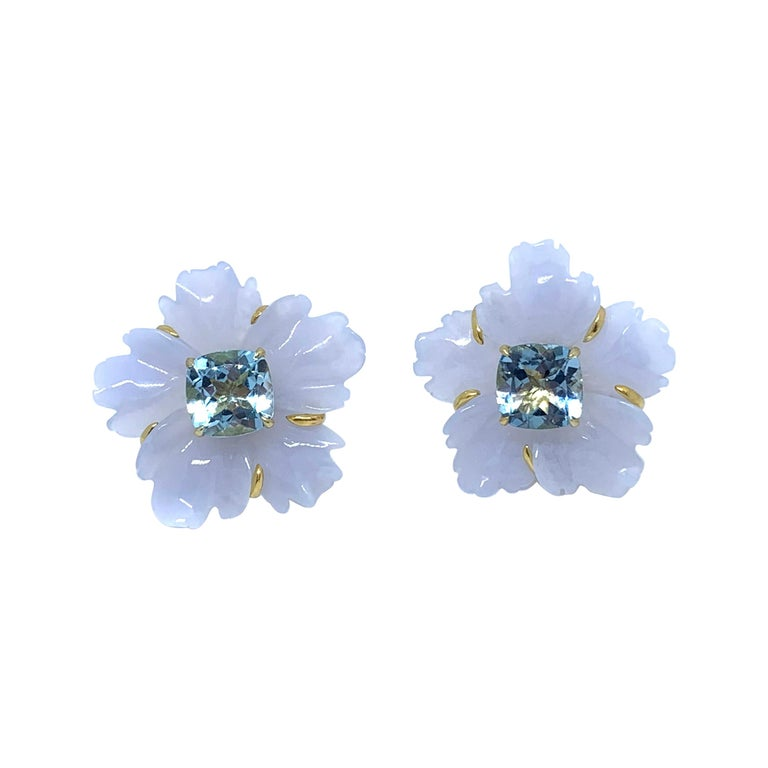 25mm Carved Chalcedony Flower and Cushion Blue Topaz Vermeil Earrings For Sale