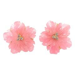 25mm Carved Pink Quartzite Flower Vermeil Earrings