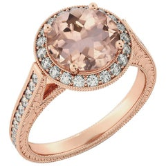 2.6 Carat 14 Karat Rose Gold Morganite and Diamonds Round Engagement Ring