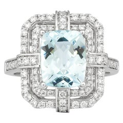2.6 Carat Aquamarine and Diamond Ring in 18 Karat White Gold