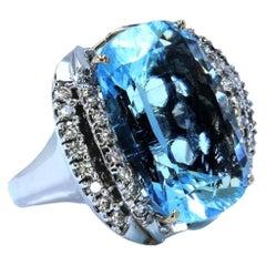 26 Carat Aquamarine Diamond Ring 14 Karat White Gold