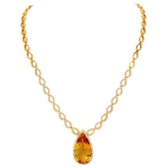 26 Carat Citrine, Diamond and Pink Gold Necklace