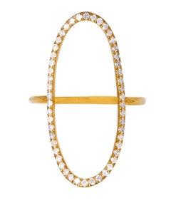 .26 Carat Diamond Negative Space 18 Karat Gold Oval Ring