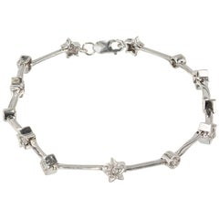 .26 Carat Diamond White Gold Star Circle Square Bracelet