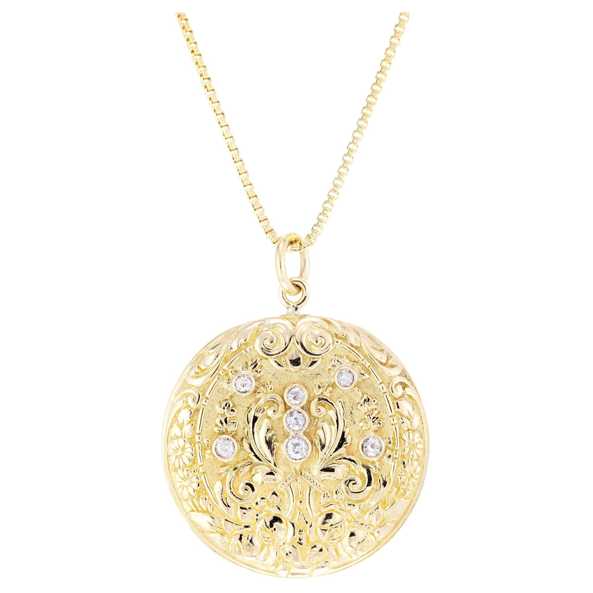.26 Carat Diamond Yellow Gold Pendant Necklace