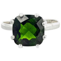 2.6 Carat Glittering Chrome Diopside Sterling Silver Ring