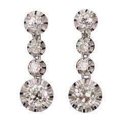 2.6 Carat Gold Platinum and Diamonds French Art Deco Earrings