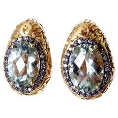 26 Carat Natural Green Amethyst & Fancy Colored Diamond Earrings 18kt Garavelli