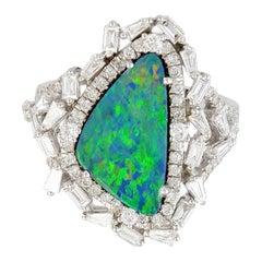 2.6 Carat Opal Diamond 18 Karat White Gold Cocktail Ring