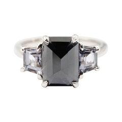 2.6 Carat Rose Cut Black Diamond 1.40 Carat Spinel Platinum Three Stone Ring