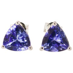 2.6 Carat TW Perfectly Matched Gem Quality Tanzanite Solitaire Earrings 14K WG