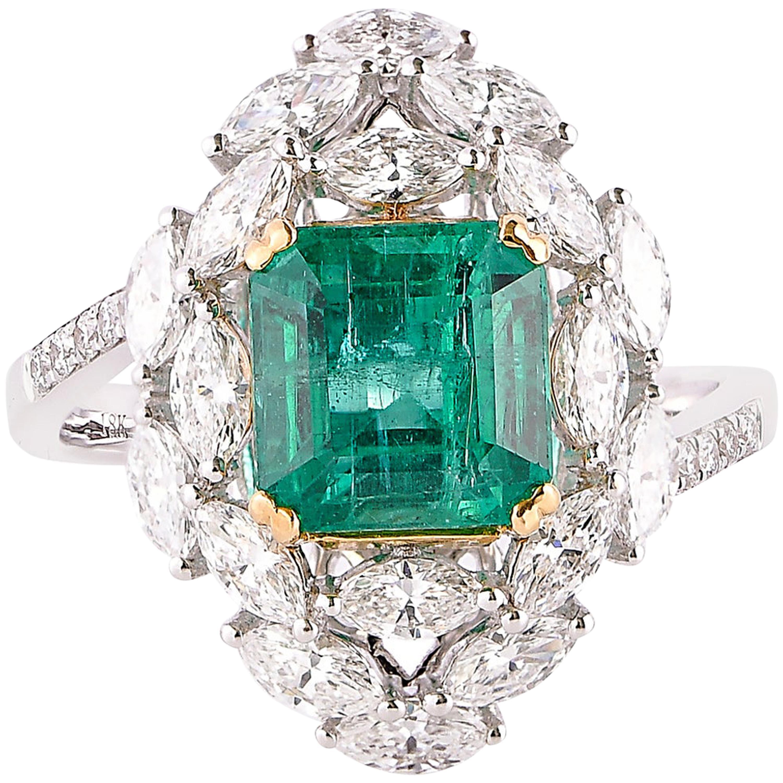 2.6 Carat Zambian Emerald and White Diamond Ring in 18 Karat White Gold