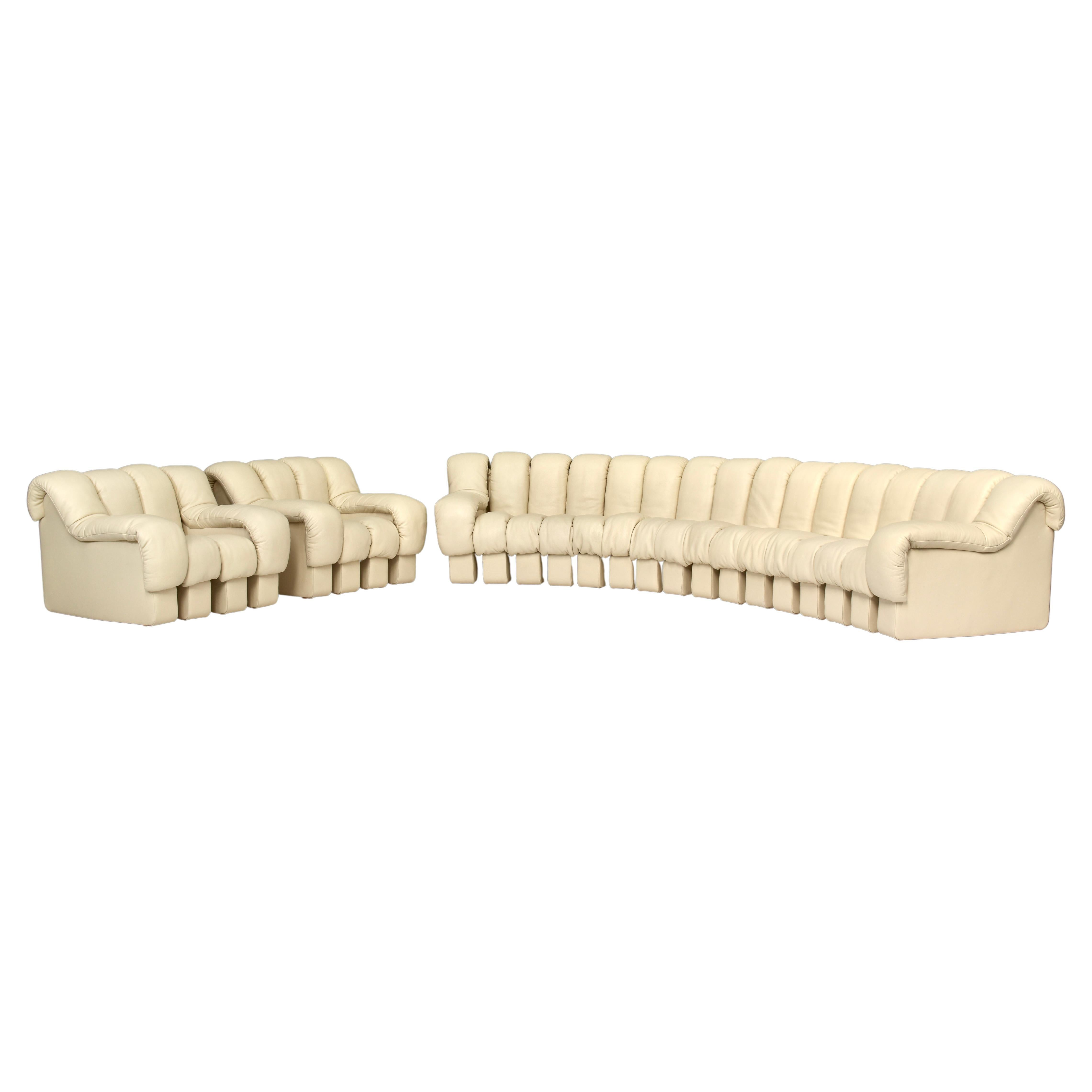 26 Pieces Ds600 Sectional Sofa and Chairs by De Sede in Crème Leather