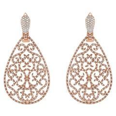 2.6 Carat Diamond Filigree Teardrop Earrings