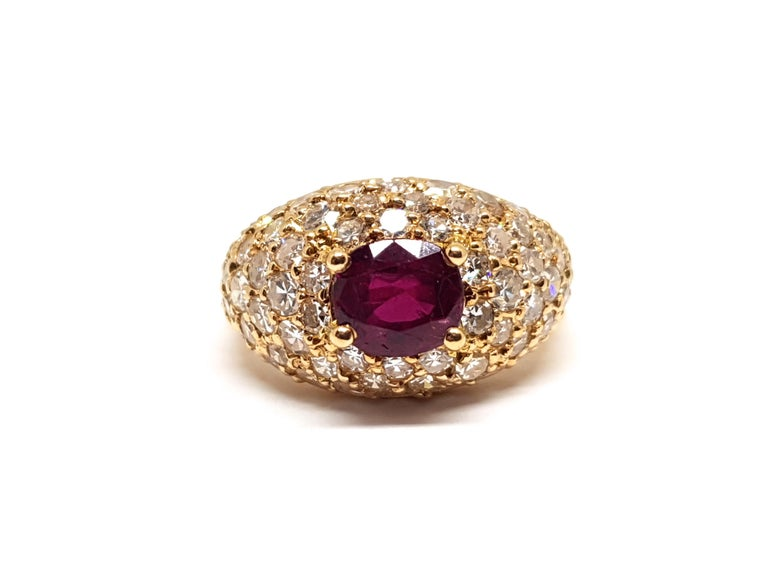 Contemporary 2.60 Carat 18 Karat Yellow Gold Diamond Ruby Cocktail Ring For Sale