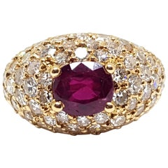 2.60 Carat 18 Karat Yellow Gold Diamond Ruby Cocktail Ring