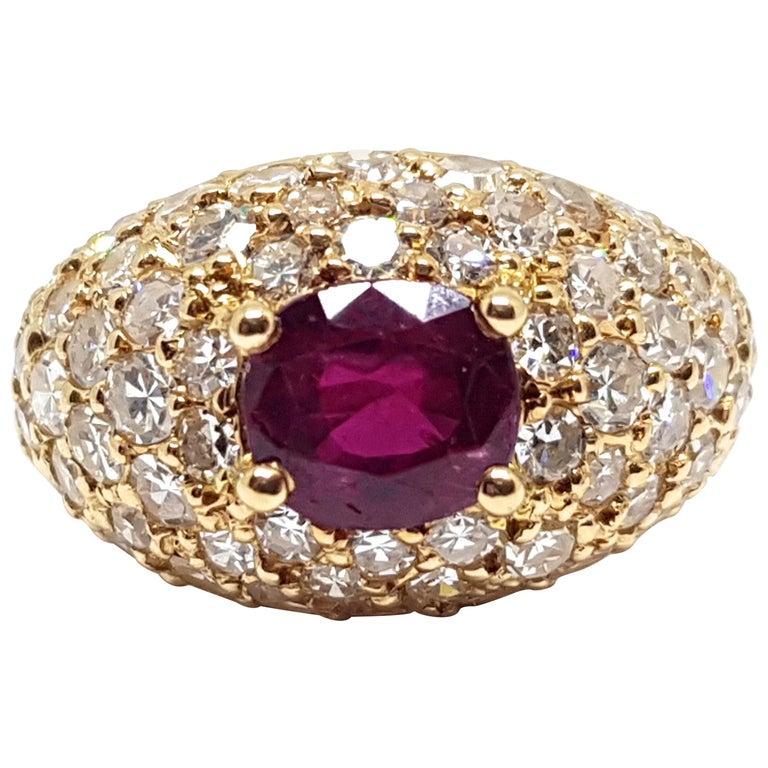 2 60 Carat 18 Karat Yellow Gold Diamond Ruby Cocktail Ring