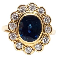 2.60 Carat 18 Karat Yellow Gold Diamond Sapphire Princess Diana Ring