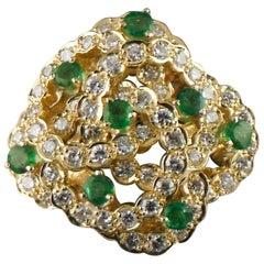2.60 Carat Diamond and Emerald 18 Karat Yellow Gold Cocktail Ring