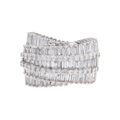 2.60 Carat Diamond White Gold Wide Band Cluster Cocktail Ring