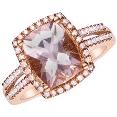 2.60 Carat Genuine Morganite and Diamond 14 Karat Rose Gold Ring