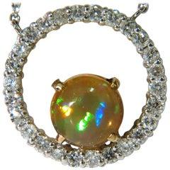 2.60 Carat Natural Vibrant Opal Diamond Necklace 14 Karat