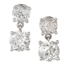 2.60 Carat Old European Cut Platinum Dangle Earrings
