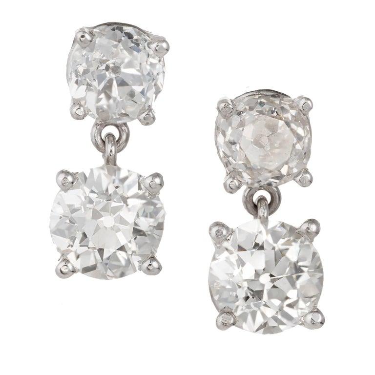 2.60 Carat Old European Cut Platinum Dangle Earrings