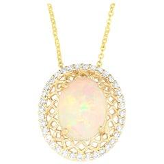 2.60 Carat Opal and 0.36 Carat White Diamond Moon Pendant