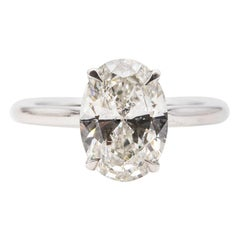 2.60 Carat Oval Cut Diamond Solitaire 18 Carat White Gold Engagement Ring