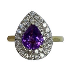 2.60 Carat Pear Cut Purple Sapphire and Diamond 18 Karat Yellow White Gold Ring