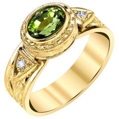 2.60 Carat Peridot Oval and Diamond Yellow Gold Engraved Bezel Band Ring