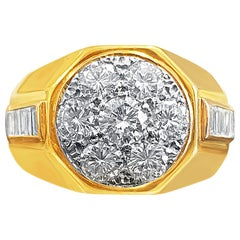 2.60 Carat Round-Brilliant Cut Diamond and 18K Yellow Gold Cluster Men's Ring