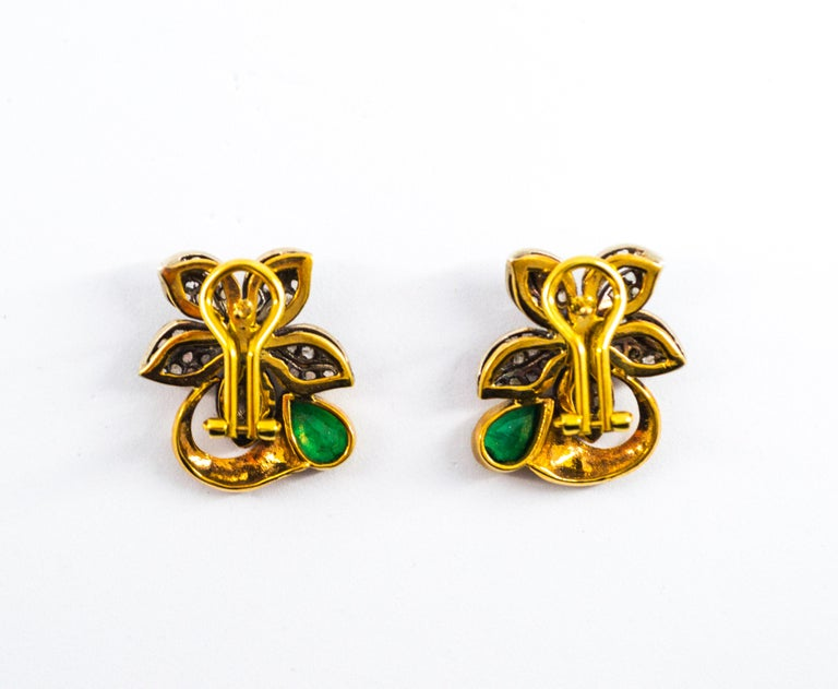 2.60 Carat White Rose Cut Diamond Emerald Yellow Gold Clip-On Flowers Earrings For Sale 6
