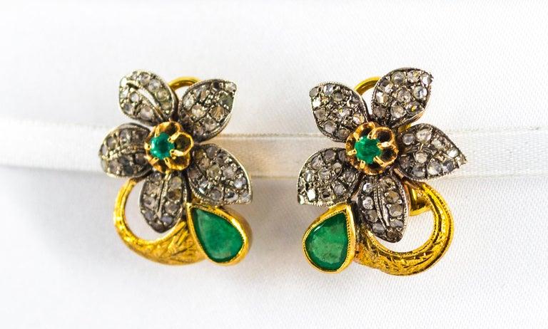 Art Nouveau 2.60 Carat White Rose Cut Diamond Emerald Yellow Gold Clip-On Flowers Earrings For Sale
