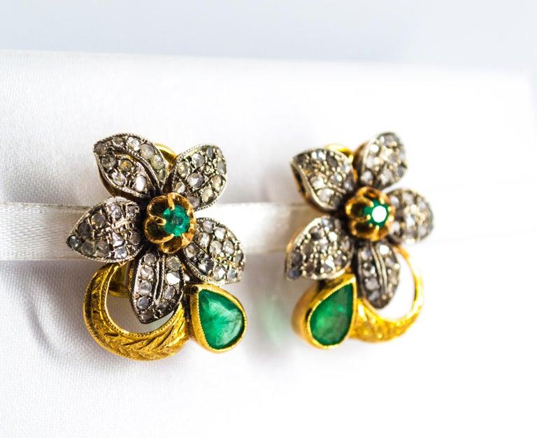 Women's or Men's 2.60 Carat White Rose Cut Diamond Emerald Yellow Gold Clip-On Flowers Earrings For Sale