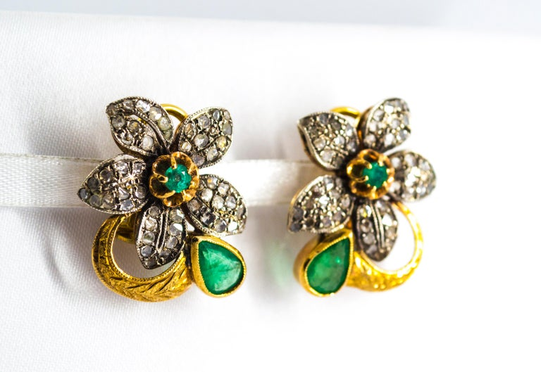 2.60 Carat White Rose Cut Diamond Emerald Yellow Gold Clip-On Flowers Earrings For Sale 2
