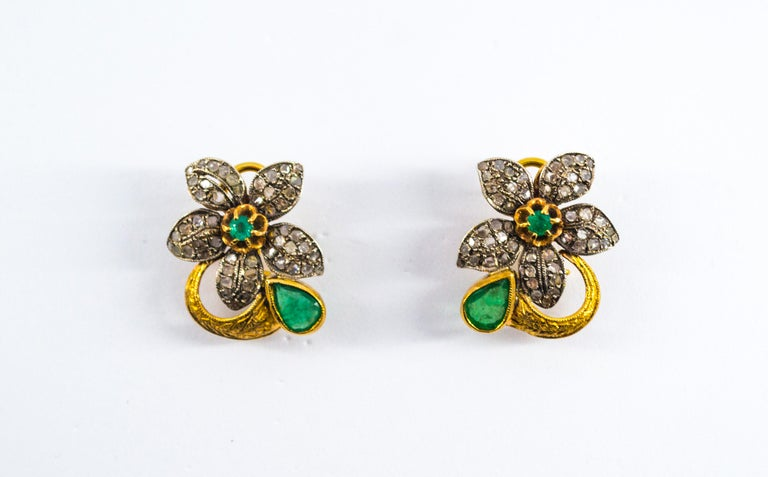 2.60 Carat White Rose Cut Diamond Emerald Yellow Gold Clip-On Flowers Earrings For Sale 4