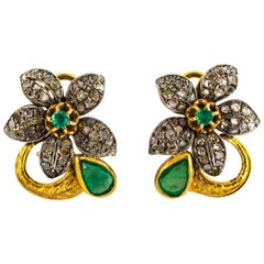 2.60 Carat White Rose Cut Diamond Emerald Yellow Gold Clip-On Flowers Earrings